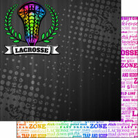 Scrapbook Customs - Neon Sports Collection - Lacrosse - 12 x 12 Double Sided Paper - 5