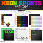 Scrapbook Customs - Neon Sports Collection - Lacrosse - 12 x 12 Paper Pack