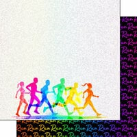 Scrapbook Customs - Neon Sports Collection - Marathon - 12 x 12 Double Sided Paper - 4