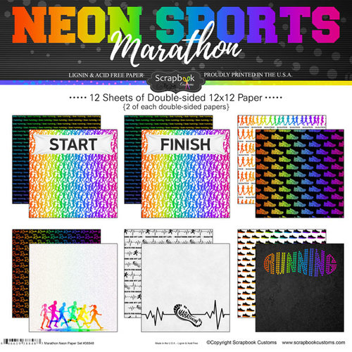 Scrapbook Customs - Neon Sports Collection - Marathon - 12 x 12 Paper Pack