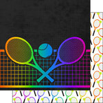 Scrapbook Customs - Neon Sports Collection - Tennis - 12 x 12 Double Sided Paper - 4