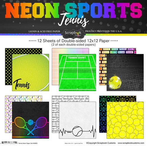 Scrapbook Customs - Neon Sports Collection - Tennis - 12 x 12 Paper Pack