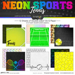 Scrapbook Customs - Neon Sports Collection - Tennis - 12 x 12 Paper Pack