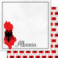 Scrapbook Customs - Adventures Around the World Collection - 12 x 12 Double Sided Paper - Adventure Border - Albania