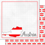 Scrapbook Customs - Adventures Around the World Collection - 12 x 12 Double Sided Paper - Adventure Border - Austria