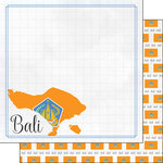 Scrapbook Customs - Adventures Around the World Collection - 12 x 12 Double Sided Paper - Adventure Border - Bali