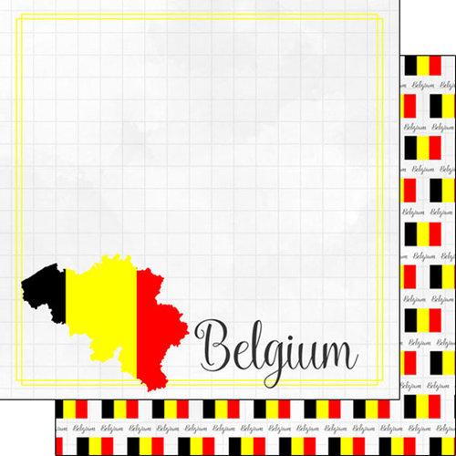 Scrapbook Customs - Adventures Around the World Collection - 12 x 12 Double Sided Paper - Adventure Border - Belgium