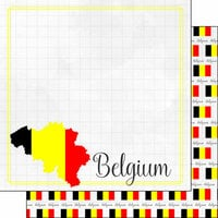 Scrapbook Customs - Adventures Around the World Collection - 12 x 12 Double Sided Paper - Adventure Border - Belgium