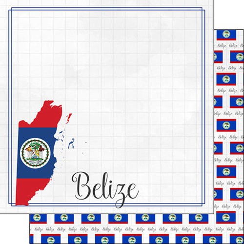 Scrapbook Customs - Adventures Around the World Collection - 12 x 12 Double Sided Paper - Adventure Border - Belize