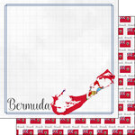Scrapbook Customs - Adventures Around the World Collection - 12 x 12 Double Sided Paper - Adventure Border - Bermuda