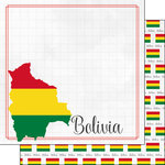 Scrapbook Customs - Adventures Around the World Collection - 12 x 12 Double Sided Paper - Adventure Border - Bolivia