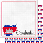 Scrapbook Customs - Adventures Around the World Collection - 12 x 12 Double Sided Paper - Adventure Border - Cambodia