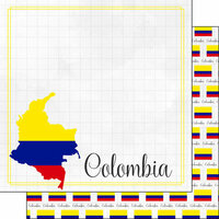 Scrapbook Customs - Adventures Around the World Collection - 12 x 12 Double Sided Paper - Adventure Border - Colombia