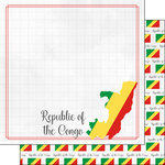 Scrapbook Customs - Adventures Around the World Collection - 12 x 12 Double Sided Paper - Adventure Border - Congo, Republic of the