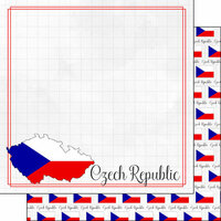 Scrapbook Customs - Adventures Around the World Collection - 12 x 12 Double Sided Paper - Adventure Border - Czech Republic