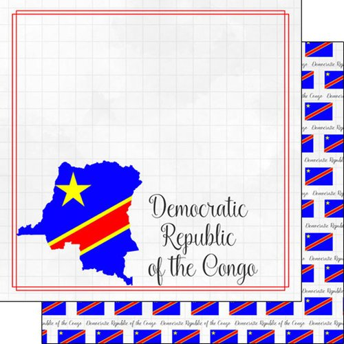 Scrapbook Customs - Adventures Around the World Collection - 12 x 12 Double Sided Paper - Adventure Border - Democratic Republic of the Congo