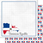 Scrapbook Customs - Adventures Around the World Collection - 12 x 12 Double Sided Paper - Adventure Border - Dominican Republic