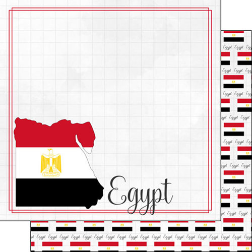 Scrapbook Customs - Adventures Around the World Collection - 12 x 12 Double Sided Paper - Adventure Border - Egypt
