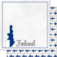 Scrapbook Customs - Adventures Around the World Collection - 12 x 12 Double Sided Paper - Adventure Border - Finland