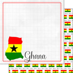 Scrapbook Customs - Adventures Around the World Collection - 12 x 12 Double Sided Paper - Adventure Border - Ghana