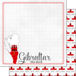 Scrapbook Customs - Adventures Around the World Collection - 12 x 12 Double Sided Paper - Adventure Border - Gibraltar