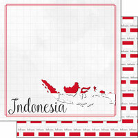 Scrapbook Customs - Adventures Around the World Collection - 12 x 12 Double Sided Paper - Adventure Border - Indonesia