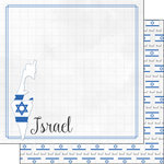 Scrapbook Customs - Adventures Around the World Collection - 12 x 12 Double Sided Paper - Adventure Border - Israel