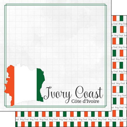 Scrapbook Customs - Adventures Around the World Collection - 12 x 12 Double Sided Paper - Adventure Border - Ivory Coast