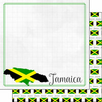 Scrapbook Customs - Adventures Around the World Collection - 12 x 12 Double Sided Paper - Adventure Border - Jamaica
