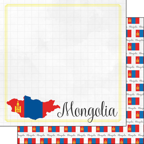 Scrapbook Customs - Adventures Around the World Collection - 12 x 12 Double Sided Paper - Adventure Border - Mongolia
