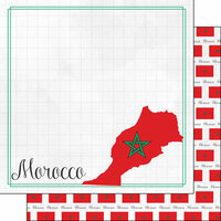 Scrapbook Customs - Adventures Around the World Collection - 12 x 12 Double Sided Paper - Adventure Border - Morocco