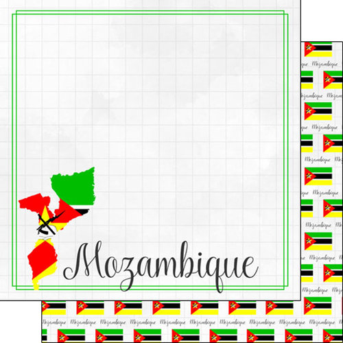 Scrapbook Customs - Adventures Around the World Collection - 12 x 12 Double Sided Paper - Adventure Border - Mozambique