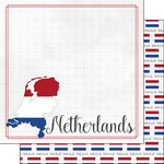 Scrapbook Customs - Adventures Around the World Collection - 12 x 12 Double Sided Paper - Adventure Border - Netherlands