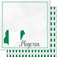 Scrapbook Customs - Adventures Around the World Collection - 12 x 12 Double Sided Paper - Adventure Border - Nigeria