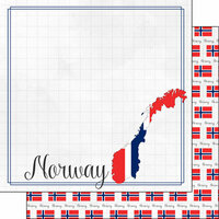 Scrapbook Customs - Adventures Around the World Collection - 12 x 12 Double Sided Paper - Adventure Border - Norway