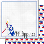 Scrapbook Customs - Adventures Around the World Collection - 12 x 12 Double Sided Paper - Adventure Border - Philippines