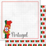 Scrapbook Customs - Adventures Around the World Collection - 12 x 12 Double Sided Paper - Adventure Border - Portugal