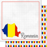 Scrapbook Customs - Adventures Around the World Collection - 12 x 12 Double Sided Paper - Adventure Border - Romania