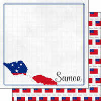Scrapbook Customs - Adventures Around the World Collection - 12 x 12 Double Sided Paper - Adventure Border - Samoa
