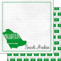 Scrapbook Customs - Adventures Around the World Collection - 12 x 12 Double Sided Paper - Adventure Border - Saudi Arabia