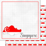 Scrapbook Customs - Adventures Around the World Collection - 12 x 12 Double Sided Paper - Adventure Border - Singapore