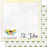 Scrapbook Customs - Adventures Around the World Collection - 12 x 12 Double Sided Paper - Adventure Border - St. John