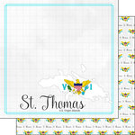Scrapbook Customs - Adventures Around the World Collection - 12 x 12 Double Sided Paper - Adventure Border - St. Thomas
