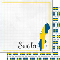 Scrapbook Customs - Adventures Around the World Collection - 12 x 12 Double Sided Paper - Adventure Border - Sweden