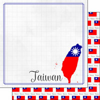 Scrapbook Customs - Adventures Around the World Collection - 12 x 12 Double Sided Paper - Adventure Border - Taiwan