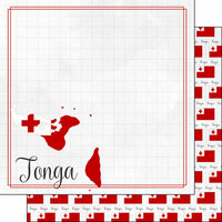 Scrapbook Customs - Adventures Around the World Collection - 12 x 12 Double Sided Paper - Adventure Border - Tonga