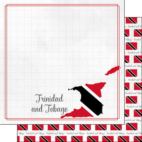 Scrapbook Customs - Adventures Around the World Collection - 12 x 12 Double Sided Paper - Adventure Border - Trinidad and Tobago