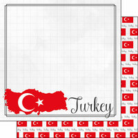 Scrapbook Customs - Adventures Around the World Collection - 12 x 12 Double Sided Paper - Adventure Border - Turkey