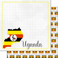 Scrapbook Customs - Adventures Around the World Collection - 12 x 12 Double Sided Paper - Adventure Border - Uganda
