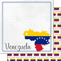 Scrapbook Customs - Adventures Around the World Collection - 12 x 12 Double Sided Paper - Adventure Border - Venezuela